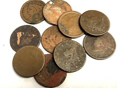 10 x Early US Large Cents, 1800s 1C Coronet / Braided etc, low grades, Lot #14