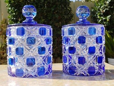 Antique Baccarat /ABP Cut 2 Clear Crystal Cane Checkered Glass Cobalt Blue Jars