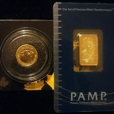 Pamp Suisse Fortuna 5g Gold Bar & Canada Cougar Gold 1/10 oz Coin in Assay Cards