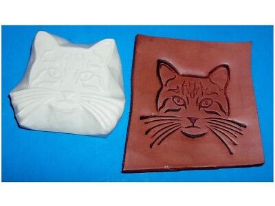 """NEW! Cat Head Leather Emboss Plate  2 7/8"""" x 2 1/2"""""""