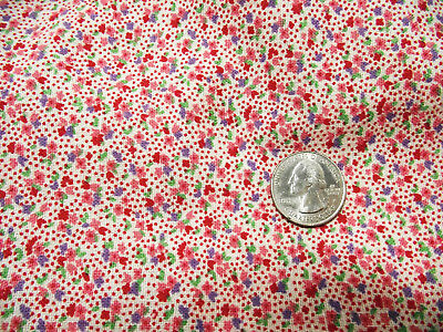 Vintage cloth feed sack tiny floral dot print - quilt or craft project fabric