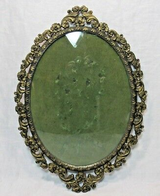 Vintage Ornate Floral Antique Gold Tone Oval Picture Frame CONVEX Glass 12 x 8