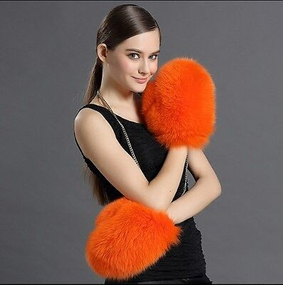 New 100% Real Genuine Fox Fur Gloves Hand Warm Jacket Coat Women Winter Fashion