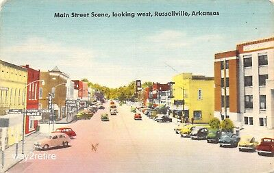 Postcard AR Russellville Main Street & Arkansas Ave Pope Co Courthouse Arkansas