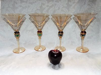 HUGE HOLIDAY GOLDEN SHEEN MARTINI GLASSES, Glass Colorful Bead Stem Look - 4