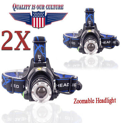 Tactical Rechargeable Zoomable 50000LM 3 Modes LED Headlight Focus Fit 18650 `
