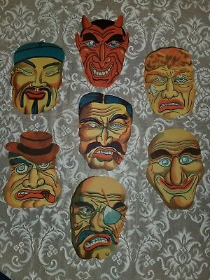 Vintage Early Paper Halloween Masks Lot of 7 Unused PERFECT Condition!