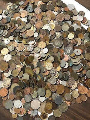 Huge 10 lbs of Damaged & Cull FOREIGN / World Coins & US tokens WYSIWYG LOT #63