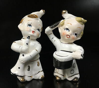Rare Pair of Vintage 'JAPAN' Figurines: Boys in White Playing Instruments