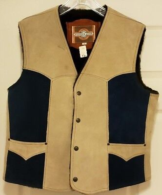 VTG NOS w/Tags! Pioneer Wear Suede Leather Lined Snap Western Vest Sz 42 NEW!