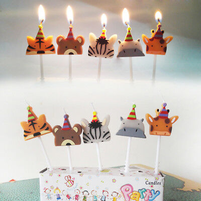 5Pcs/Set Cartoon Animals Birthday Cake Candle Toppers Kids Party Decor Supplies