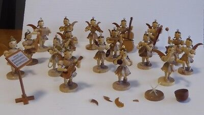 Vintage wood angels orchestra.   ? Erzgebirge.    Lot of 17 angels, music stand