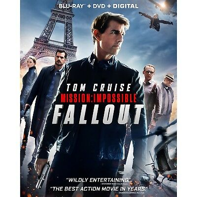MISSION IMPOSSIBLE FALLOUT Blu-ray/DVD/Digital (CASE,COVER,CODE, & ALL DISC)