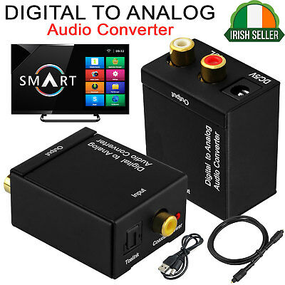 Digital to Analog Audio Converter RCA L/R Stereo ADAPTER Optical Coax Toslink