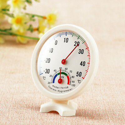 Lovely Round Clock Shape Indoor Outdoor Humidity Thermometer Temperature Meter