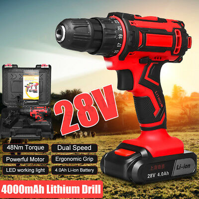28V 4000mAh 48Nm Lithium Battery Fast Charger LED Cordless Drill 25+1 Clutches