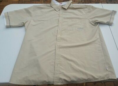 Quick Silver Mens Vintage Cream Short Sleeve Surfing Shirt Size XL
