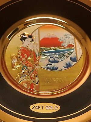 THE ART OF CHOKIN Plate Dish with 24K Gold Made in Japan in Original Box RARE!