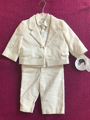 Sarah Louise 5 Piece Christening Suit Ivory Velvet/Silk 6 Months BNWT RRP £84