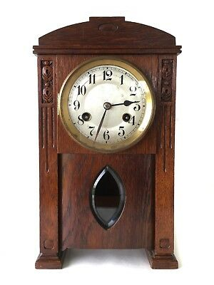 Antique Arts And Crafts German 8 Day Polished Timber Shelf Clock By Junghans