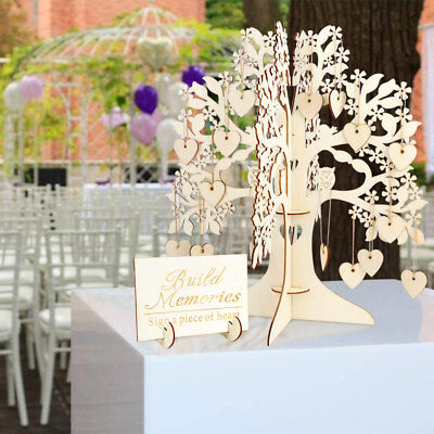 DIY Wooden Tree &100 Hearts Visit Sign Guest Book for Bridal Wedding Baby Shower