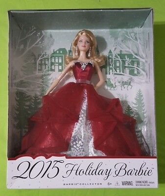 NEW 2015 Holiday Barbie Doll Blonde Hair, Red Dress