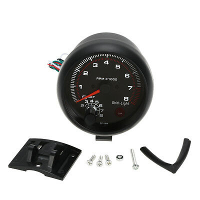 3.75'' 12V Black Car 0~8000RPM Tachometer Meter Gauge White LED Shift Light M5T3