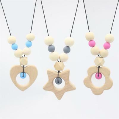 1 Pc Infant Baby Teether Necklace Silicone Wood Beads Teething Toys Safety FI