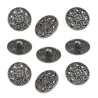 30pcs Antique Round Metal Hollow Pattern Pierced Shank Buttons 18mm Craft Sewing