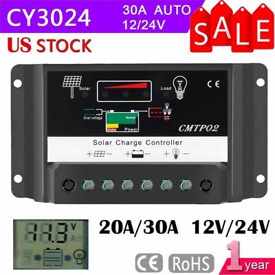 30/60A LCD DISPLAY PWM Solar Panel Battery Regulator Charge