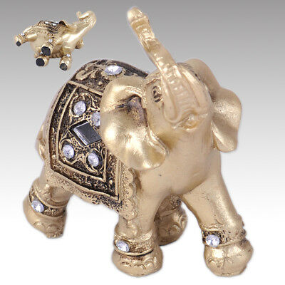 "3.5"" Feng Shui Elegant Elephant Statue Lucky Wealth Figurine for Gift Home Decor"
