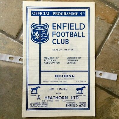 Enfield Town v READING F A CUP 1 ST ROUND 1963 VERY GOOD CONDITION