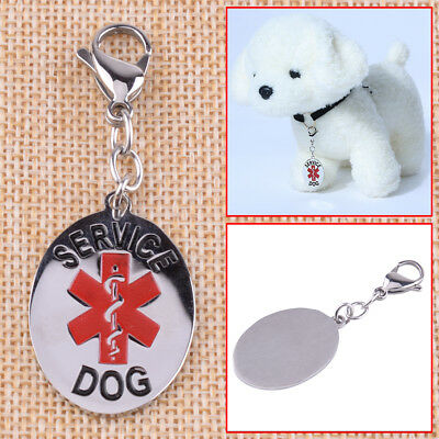 Stainless Steel Medical Alert Service Dog Tag Collar Keychain ESA No Engraving