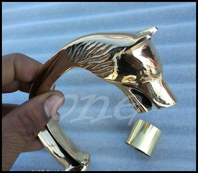 Vintage Style Brass Fox Head for Men's walking Cane Handle Stick Gift solid