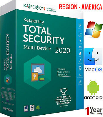 Kaspersky TOTAL Security 2019 5 Device//1 Year //Win-Mac-Android// Region AMERICA