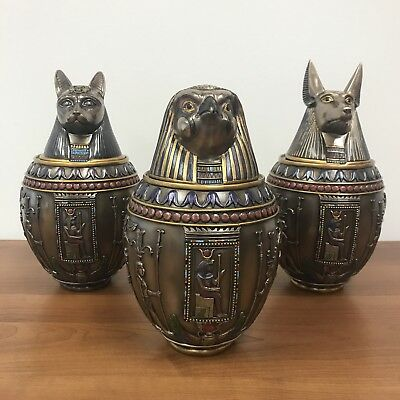 Egyptian Gods Bastet, Horus, & Anubis Bronze Finish Canopic Jars CHRISTMAS GIFT