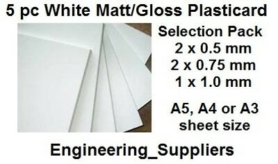 5 pc White or Black Matt/Gloss Plasticard Selection Pk 0.5 - 1mm Thick A5 - A3