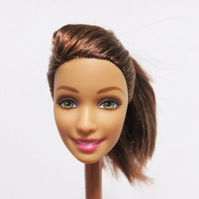 DIY Doll Body Part Head for Barbie White Skin Smile Face Pink Lips Soft Head