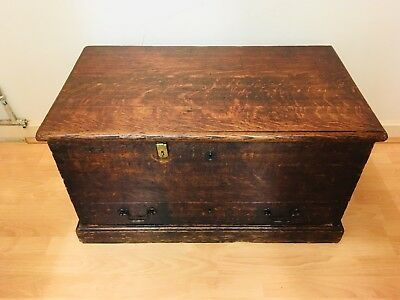 Old antique Oak Trunk / Chest With Draw And Handles.