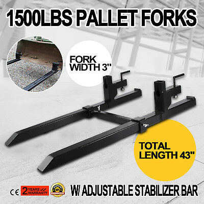 "43"" Clamp on Pallet Forks w/ Stabilizer Bar 1500lb Pro Heavy lifting Skidsteer"