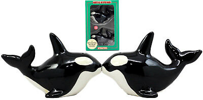 Orca Killer Whale Salt & Pepper Shakers Ceramic Magnetic Figurines Collectible