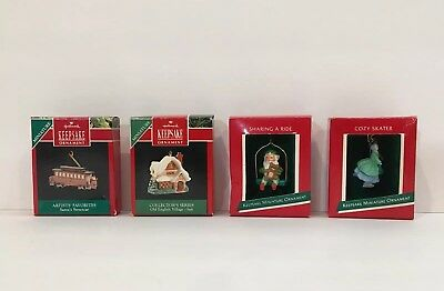 Hallmark Miniature Ornaments Vtg Keepsake Skater Village Elf Streetcar Chr