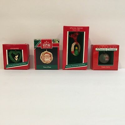 Hallmark Miniature Christmas Ornaments Santa Lovebirds Wreath Vtg Keepsake