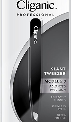 Cliganic Professional Slant Tweezers - Precision Tweezers for Eyebrows | Hair &