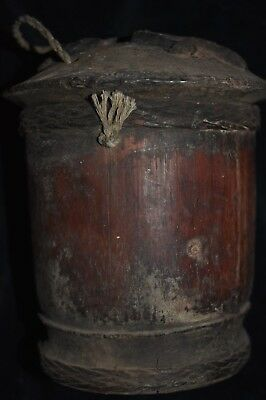 """orig $799. BATAK BAMBOO SHAMAN CONTAINER, EARLY 1900S 8"""" M. SIMPSON ESTATE"""