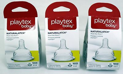 3 Playtex Baby NaturaLatch Nipples 3-6mo+ Fast Flow Silicone 2 per pack