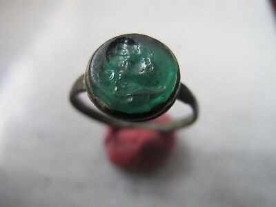 Antique Medieval Bronze Ring With Intaglio Gem Stone