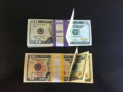 3.000 PROP MONEY REPLICA 10s 20s New Style All full Print For movie Video Etc.