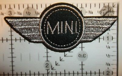"Mini Cooper Patch~British Car Automotive~3 1/8"" x 1 5/16""~Embroidered~Iron Sew"