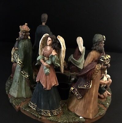 ADVENT WREATH 4-Piece Resin Nativity Scene Forming a Circle w/ Candle Holders
